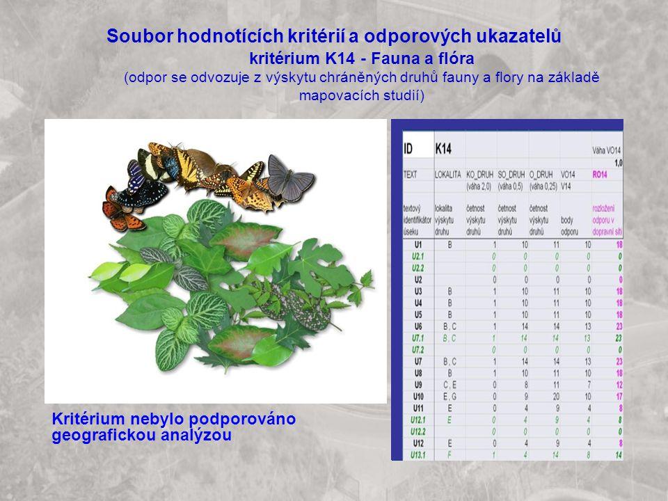 Soubor hodnotících kritérií a odporových ukazatelů kritérium K14 - Fauna a flóra (odpor se odvozuje z výskytu chráněných druhů fauny a flory na základě mapovacích studií) Kritérium nebylo podporováno geografickou analýzou