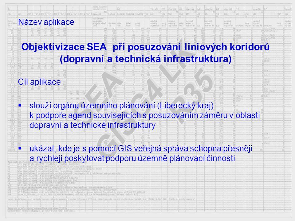 Objektivizace SEA při posuzování liniových koridorů (dopravní a technická infrastruktura) Cíl aplikace  slouží orgánu územního plánování (Liberecký k