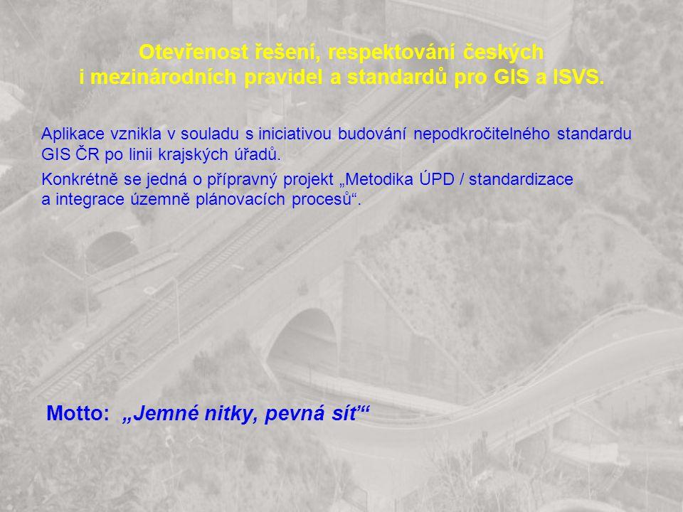 Otevřenost řešení, respektování českých i mezinárodních pravidel a standardů pro GIS a ISVS. Aplikace vznikla v souladu s iniciativou budování nepodkr