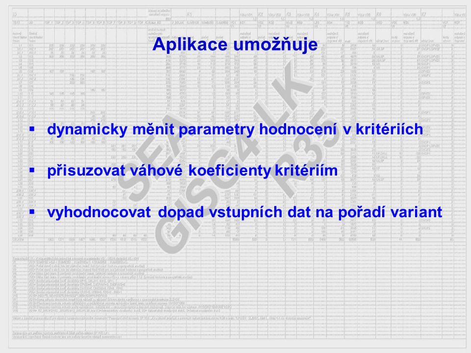 Aplikace umožňuje  dynamicky měnit parametry hodnocení v kritériích  přisuzovat váhové koeficienty kritériím  vyhodnocovat dopad vstupních dat na p