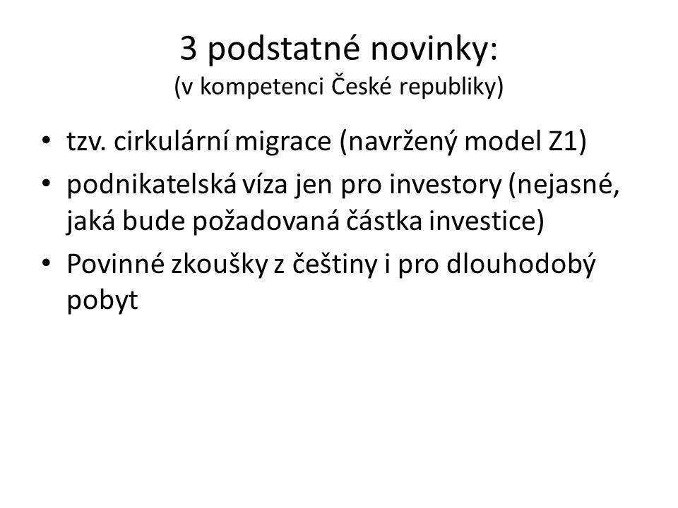 3 podstatné novinky: (v kompetenci České republiky) tzv. cirkulární migrace (navržený model Z1) podnikatelská víza jen pro investory (nejasné, jaká bu