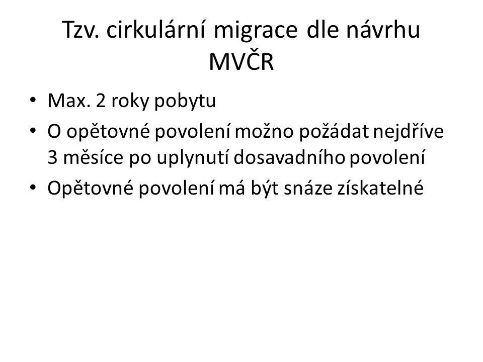Tzv. cirkulární migrace dle návrhu MVČR Max. 2 roky pobytu O opětovné povolení možno požádat nejdříve 3 měsíce po uplynutí dosavadního povolení Opětov