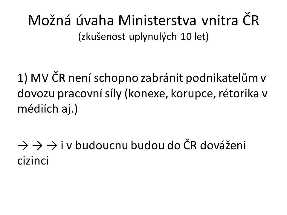 Možná úvaha Ministerstva vnitra ČR (zkušenost uplynulých 10 let) 1) MV ČR není schopno zabránit podnikatelům v dovozu pracovní síly (konexe, korupce,