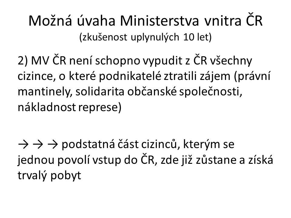 Možná úvaha Ministerstva vnitra ČR (zkušenost uplynulých 10 let) 2) MV ČR není schopno vypudit z ČR všechny cizince, o které podnikatelé ztratili záje