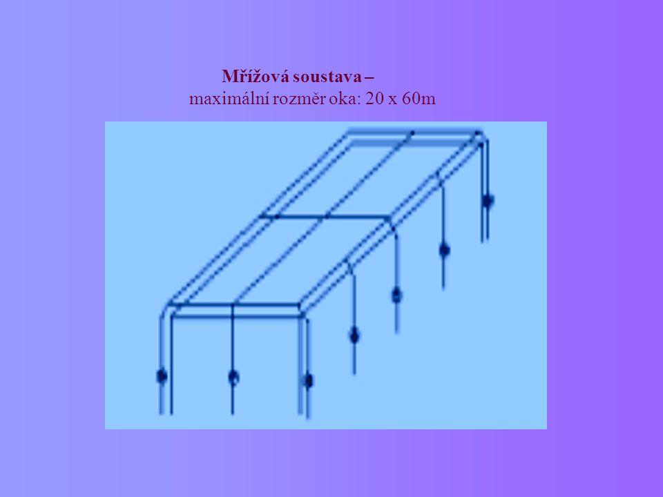 Mřížová soustava – maximální rozměr oka: 20 x 60m