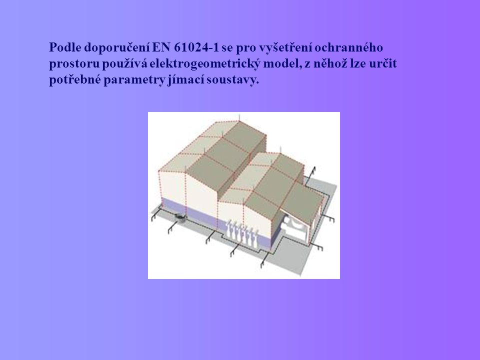 Podle doporučení EN 61024-1 se pro vyšetření ochranného prostoru používá elektrogeometrický model, z něhož lze určit potřebné parametry jímací soustav