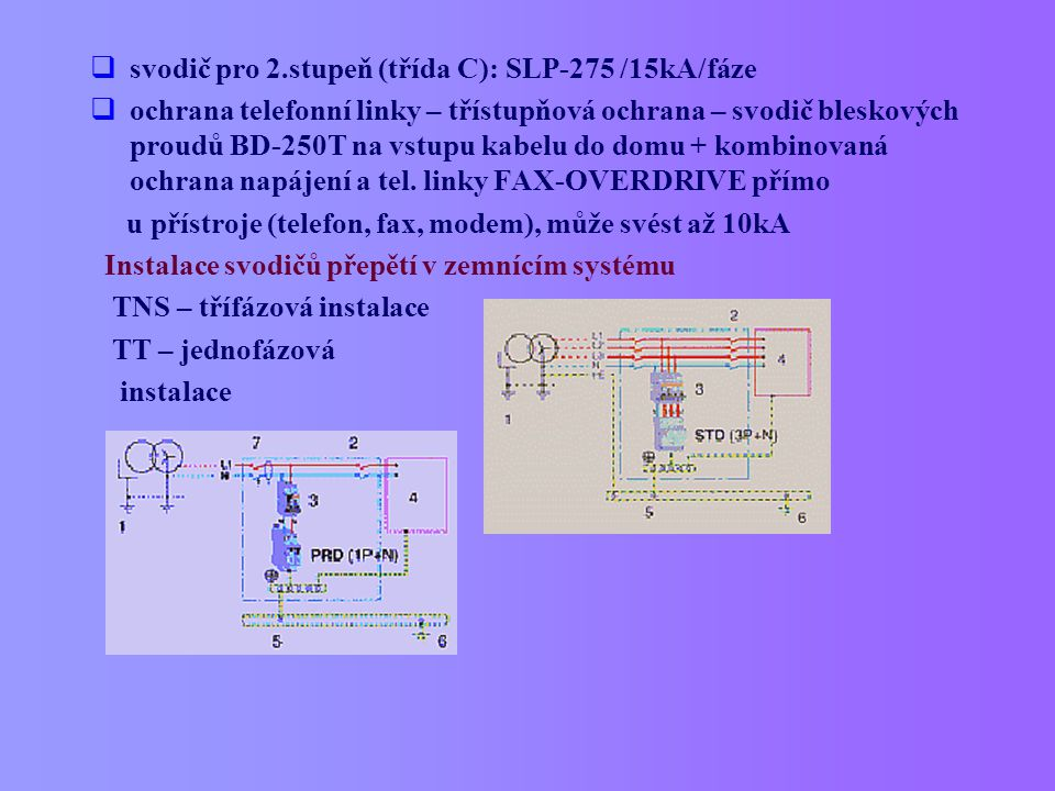  svodič pro 2.stupeň (třída C): SLP-275 /15kA/fáze  ochrana telefonní linky – třístupňová ochrana – svodič bleskových proudů BD-250T na vstupu kabel