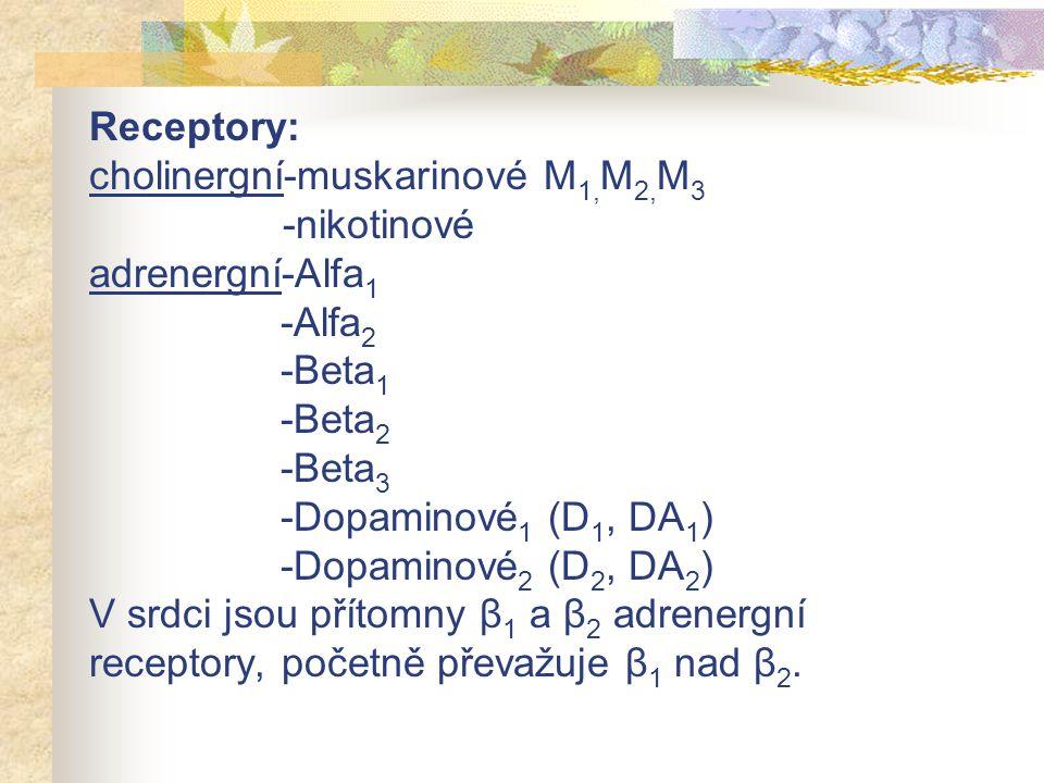 Receptory: cholinergní-muskarinové M 1, M 2, M 3 -nikotinové adrenergní-Alfa 1 -Alfa 2 -Beta 1 -Beta 2 -Beta 3 -Dopaminové 1 (D 1, DA 1 ) -Dopaminové