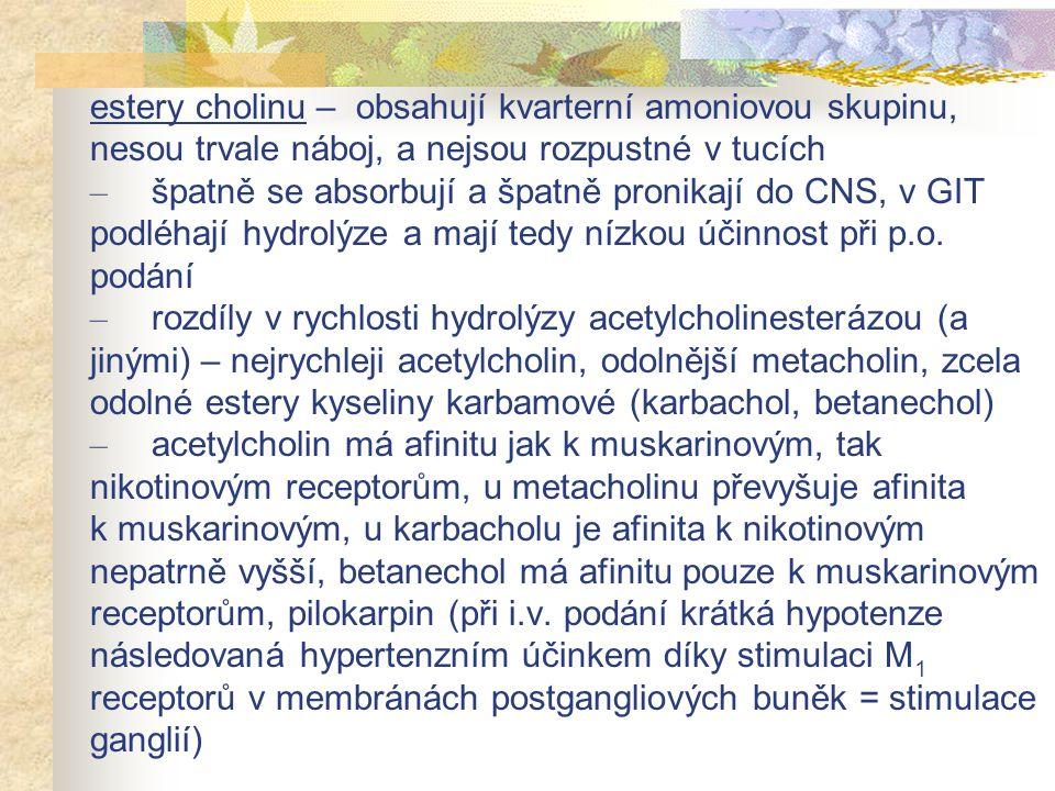 estery cholinu – obsahují kvarterní amoniovou skupinu, nesou trvale náboj, a nejsou rozpustné v tucích – špatně se absorbují a špatně pronikají do CNS