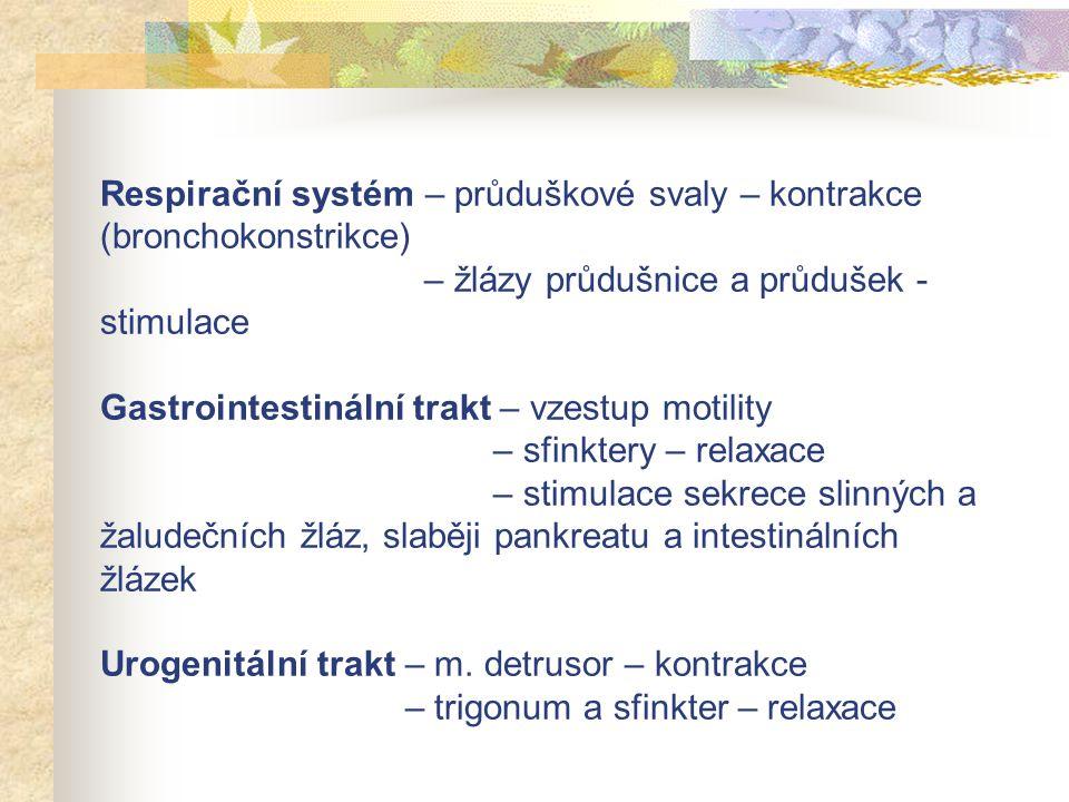 Respirační systém – průduškové svaly – kontrakce (bronchokonstrikce) – žlázy průdušnice a průdušek - stimulace Gastrointestinální trakt – vzestup moti