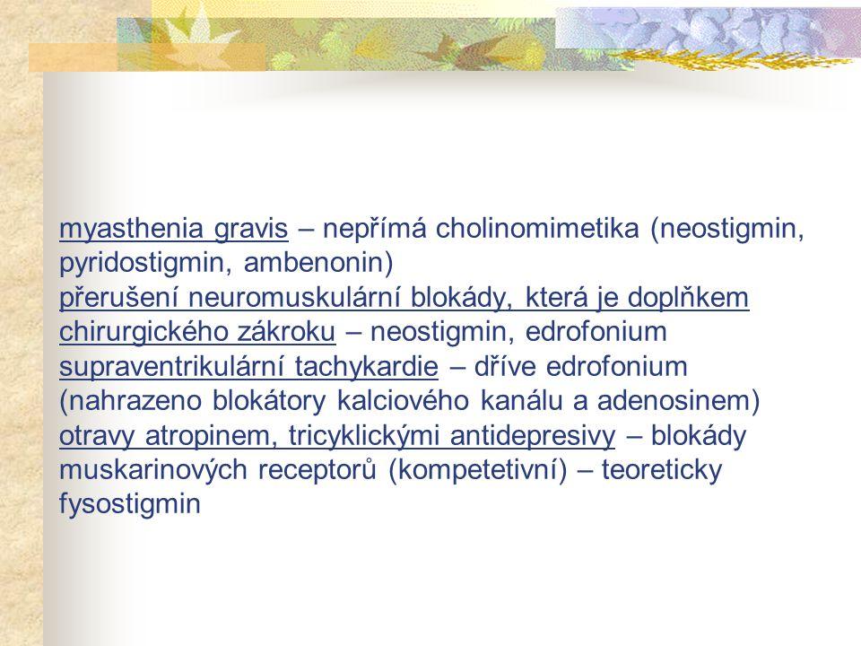 myasthenia gravis – nepřímá cholinomimetika (neostigmin, pyridostigmin, ambenonin) přerušení neuromuskulární blokády, která je doplňkem chirurgického