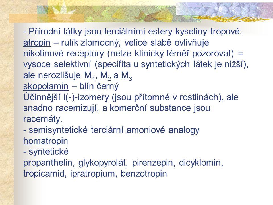 - Přírodní látky jsou terciálními estery kyseliny tropové: atropin – rulík zlomocný, velice slabě ovlivňuje nikotinové receptory (nelze klinicky téměř