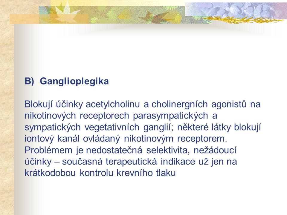 B) Ganglioplegika Blokují účinky acetylcholinu a cholinergních agonistů na nikotinových receptorech parasympatických a sympatických vegetativních gang