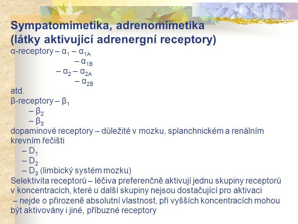 Sympatomimetika, adrenomimetika (látky aktivující adrenergní receptory) α-receptory – α 1 – α 1A – α 1B – α 2 – α 2A – α 2B atd. β-receptory – β 1 – β