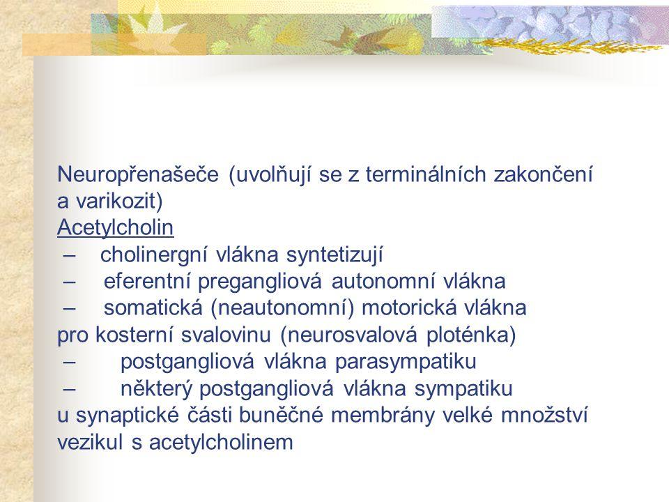  sympatotropní látky sympatomimetika, adrenomimetika, adrenergika, andrenegní agonisté, adrenergní látky, stimulátory sympatiku sympatolytika, adrenolytika, antiadrenergika, adrenergní blokátory, antagonisté adrenergních receptorů, sympatoplegika  parasympatotropní látky parasympatomimetika, cholinomimetika, cholinergika, cholinergní agonisté, cholinergní látky, stimulátory parasympatiku parasympatolytika, cholinolytika, anticholinergika  látky působící v gangliích gangioplegika, gangliové blokátory