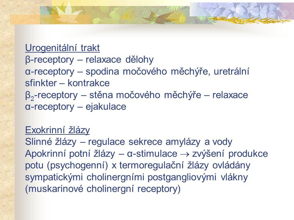 Urogenitální trakt β-receptory – relaxace dělohy α-receptory – spodina močového měchýře, uretrální sfinkter – kontrakce β 2 -receptory – stěna močovéh