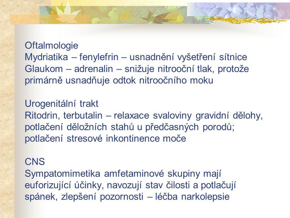 Oftalmologie Mydriatika – fenylefrin – usnadnění vyšetření sítnice Glaukom – adrenalin – snižuje nitrooční tlak, protože primárně usnadňuje odtok nitr