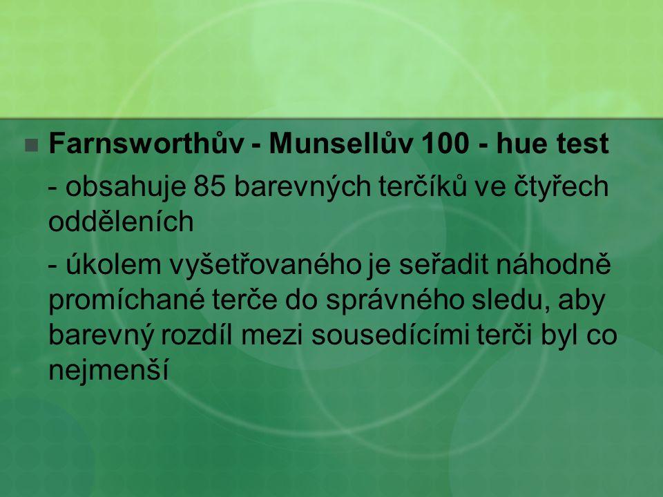 Farnsworthův - Munsellův 100 - hue test - obsahuje 85 barevných terčíků ve čtyřech odděleních - úkolem vyšetřovaného je seřadit náhodně promíchané ter