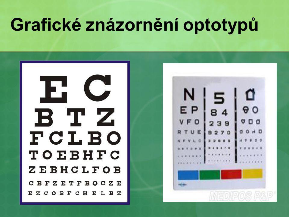 typy perimetrie - kinetická - jednodušší, méně přesné vyšetření - statická - počítačové zpracování obě vyšetření jsou na principu fixace oka na centrální bod za současného periferního sledování promítaných světelných značek - různé barevnosti a intenzity