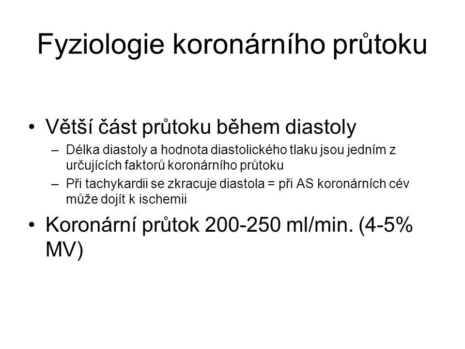 Fyziologie koronárního průtoku Větší část průtoku během diastoly –Délka diastoly a hodnota diastolického tlaku jsou jedním z určujících faktorů koronárního průtoku –Při tachykardii se zkracuje diastola = při AS koronárních cév může dojít k ischemii Koronární průtok 200-250 ml/min.