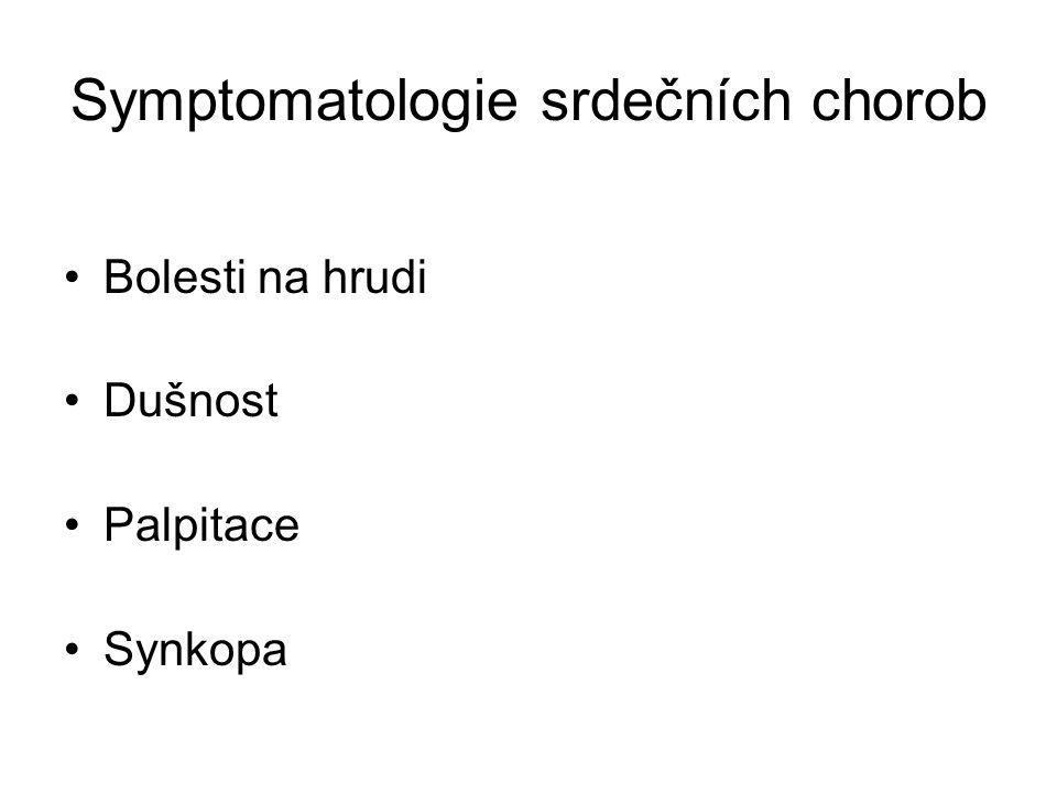 Symptomatologie srdečních chorob Bolesti na hrudi Dušnost Palpitace Synkopa