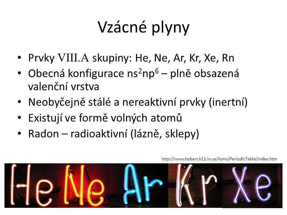 Prvky VIII.A skupiny: He, Ne, Ar, Kr, Xe, Rn Obecná konfigurace ns 2 np 6 – plně obsazená valenční vrstva Neobyčejně stálé a nereaktivní prvky (inertn