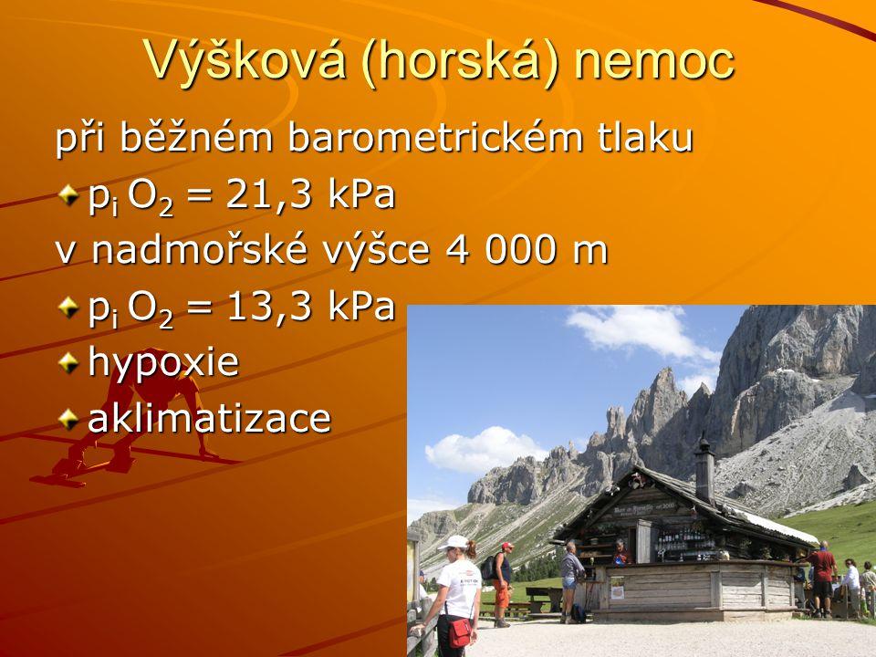 Výšková (horská) nemoc při běžném barometrickém tlaku p i O 2 = 21,3 kPa v nadmořské výšce 4 000 m p i O 2 = 13,3 kPa hypoxieaklimatizace