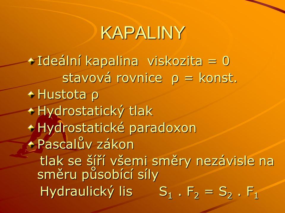 KAPALINY Ideální kapalina viskozita = 0 stavová rovnice ρ = konst. stavová rovnice ρ = konst. Hustota ρ Hydrostatický tlak Hydrostatické paradoxon Pas