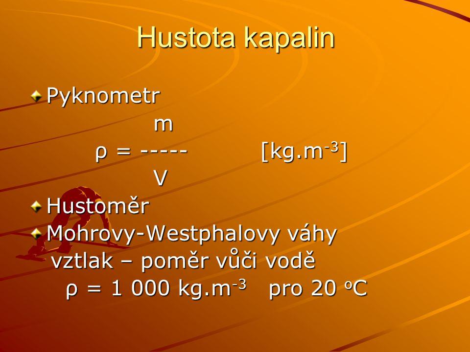 Hustota kapalin Pyknometr m ρ = ----- [kg.m -3 ] ρ = ----- [kg.m -3 ] VHustoměr Mohrovy-Westphalovy váhy vztlak – poměr vůči vodě vztlak – poměr vůči