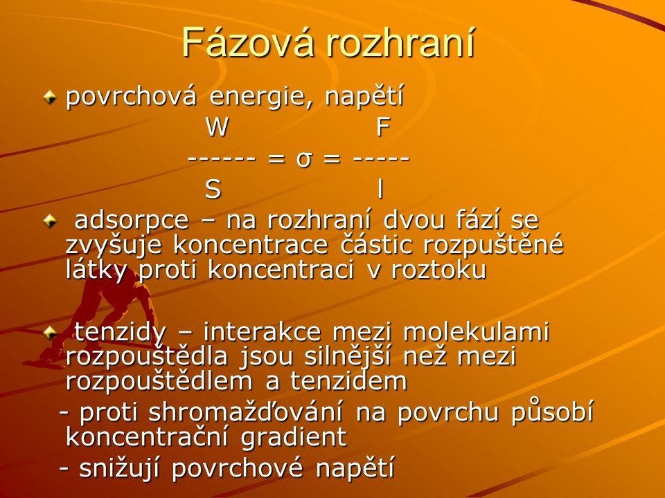 Fázová rozhraní povrchová energie, napětí W F W F ------ = σ = ----- ------ = σ = ----- S l S l adsorpce – na rozhraní dvou fází se zvyšuje koncentrac