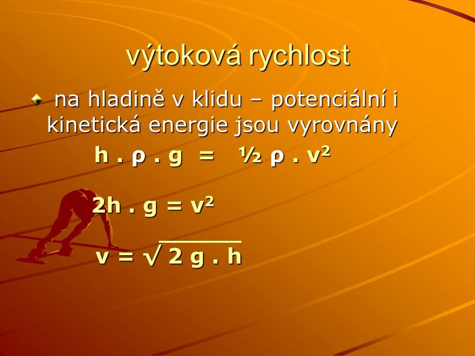 výtoková rychlost na hladině v klidu – potenciální i kinetická energie jsou vyrovnány na hladině v klidu – potenciální i kinetická energie jsou vyrovn