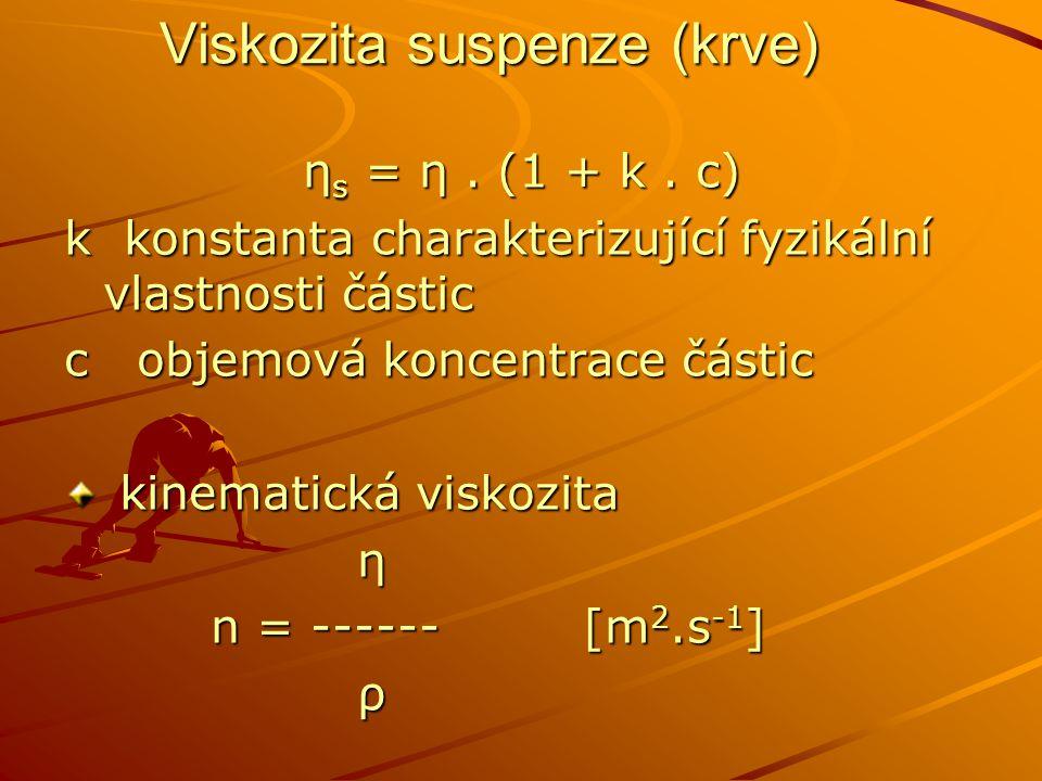 Viskozita suspenze (krve) η s = η. (1 + k. c) k konstanta charakterizující fyzikální vlastnosti částic c objemová koncentrace částic kinematická visko