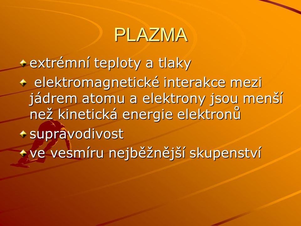 PLAZMA extrémní teploty a tlaky elektromagnetické interakce mezi jádrem atomu a elektrony jsou menší než kinetická energie elektronů elektromagnetické