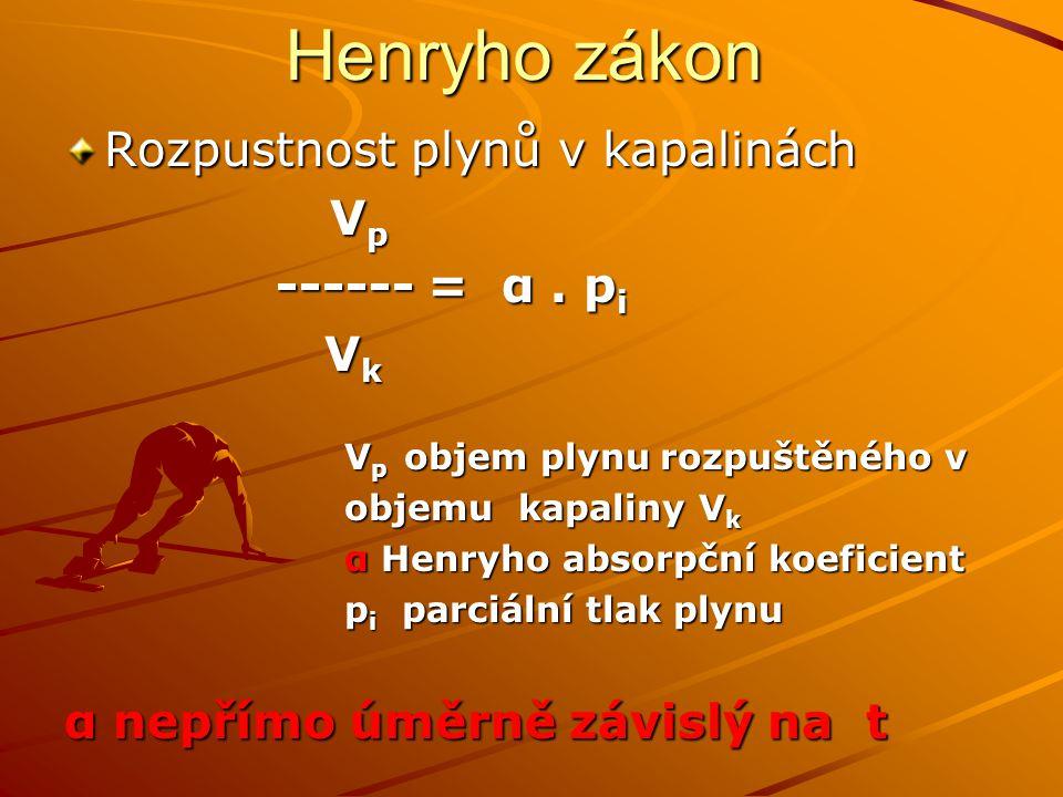 Henryho zákon Rozpustnost plynů v kapalinách V p V p ------ = α. p i ------ = α. p i V k V k V p objem plynu rozpuštěného v V p objem plynu rozpuštěné