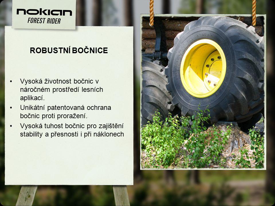 ROBUSTNÍ BOČNICE Vysoká životnost bočnic v náročném prostředí lesních aplikací.