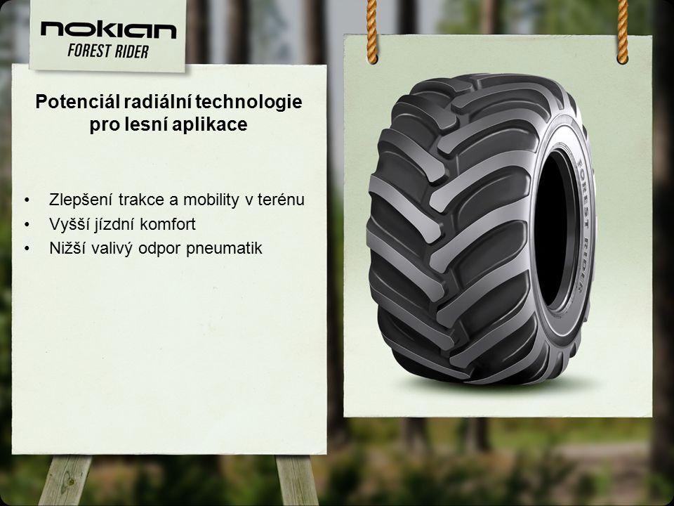 Potenciál radiální technologie pro lesní aplikace Zlepšení trakce a mobility v terénu Vyšší jízdní komfort Nižší valivý odpor pneumatik