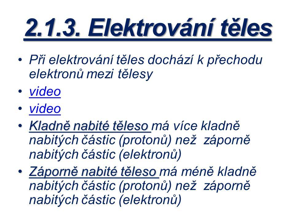 2.1.3. Elektrování těles Při elektrování těles dochází k přechodu elektronů mezi tělesy video Kladně nabité tělesoKladně nabité těleso má více kladně