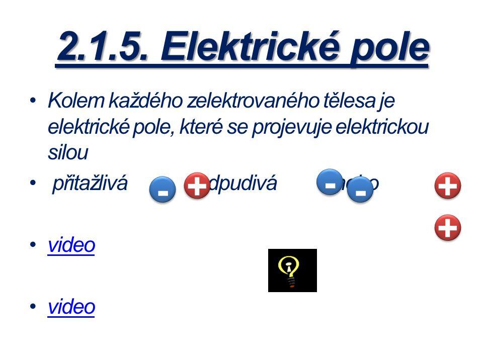 2.1.5. Elektrické pole Kolem každého zelektrovaného tělesa je elektrické pole, které se projevuje elektrickou silou přitažlivá, odpudivá nebo video -