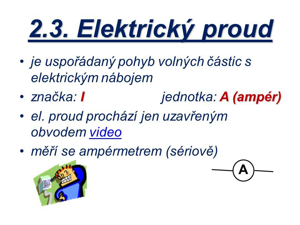 je uspořádaný pohyb volných částic s elektrickým nábojem IA (ampér)značka: I jednotka: A (ampér) el. proud prochází jen uzavřeným obvodem videovideo m