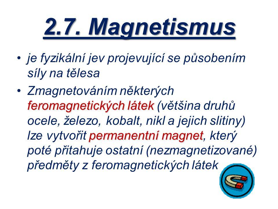 2.7. Magnetismus je fyzikální jev projevující se působením síly na tělesa feromagnetickýchlátek permanentní magnetZmagnetováním některých feromagnetic