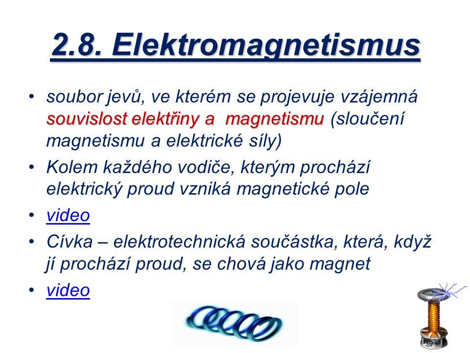 2.8. Elektromagnetismus souvislost elektřiny a magnetismusoubor jevů, ve kterém se projevuje vzájemná souvislost elektřiny a magnetismu (sloučení magn