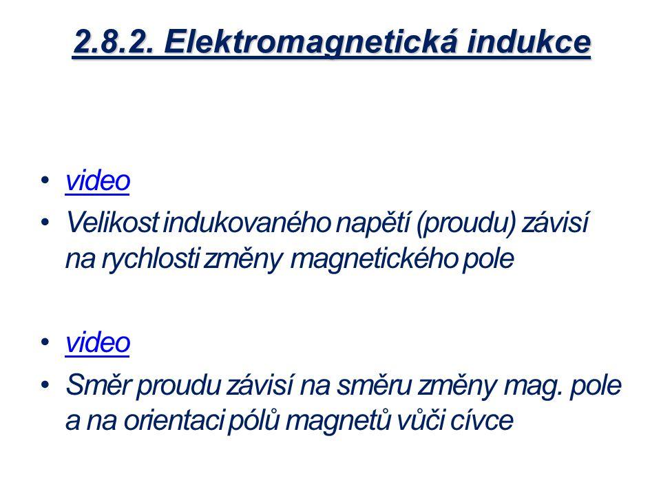 2.8.2. Elektromagnetická indukce video Velikost indukovaného napětí (proudu) závisí na rychlosti změny magnetického pole video Směr proudu závisí na s