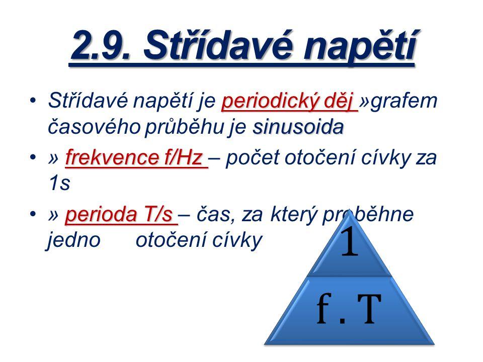 2.9. Střídavé napětí periodický děj sinusoidaStřídavé napětí je periodický děj »grafem časového průběhu je sinusoida frekvence f/Hz» frekvence f/Hz –