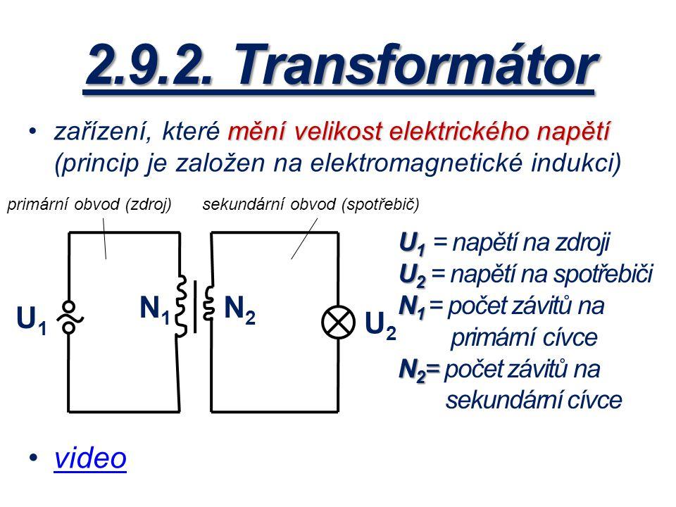 2.9.2. Transformátor mění velikost elektrického napětízařízení, které mění velikost elektrického napětí (princip je založen na elektromagnetické induk