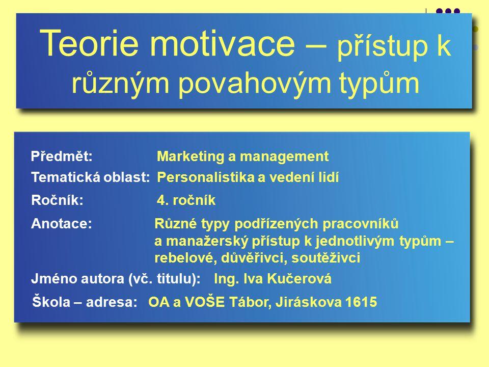 Teorie motivace – přístup k různým povahovým typům Jméno autora (vč.