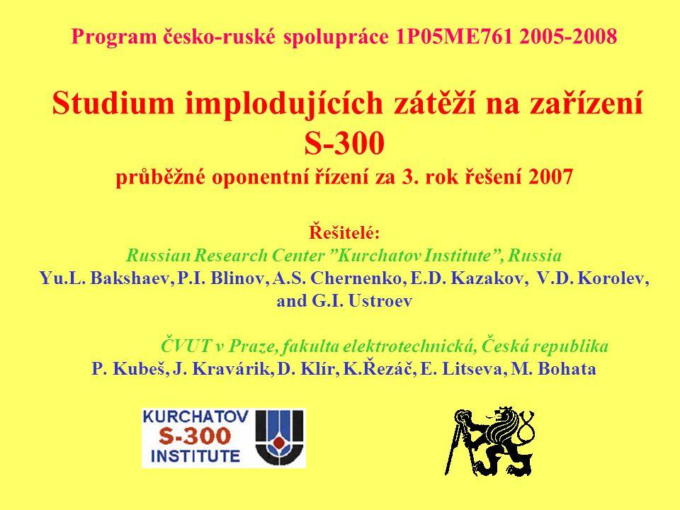 Program česko-ruské spolupráce 1P05ME761 2005-2008 Studium implodujících zátěží na zařízení S-300 průběžné oponentní řízení za 3.