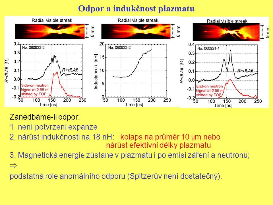 Odpor a indukčnost plazmatu Zanedbáme-li odpor: 1.