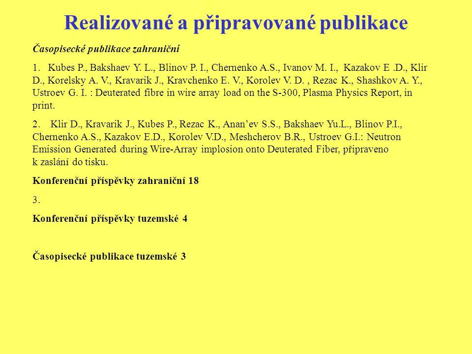 Realizované a připravované publikace Časopisecké publikace zahraniční 1.