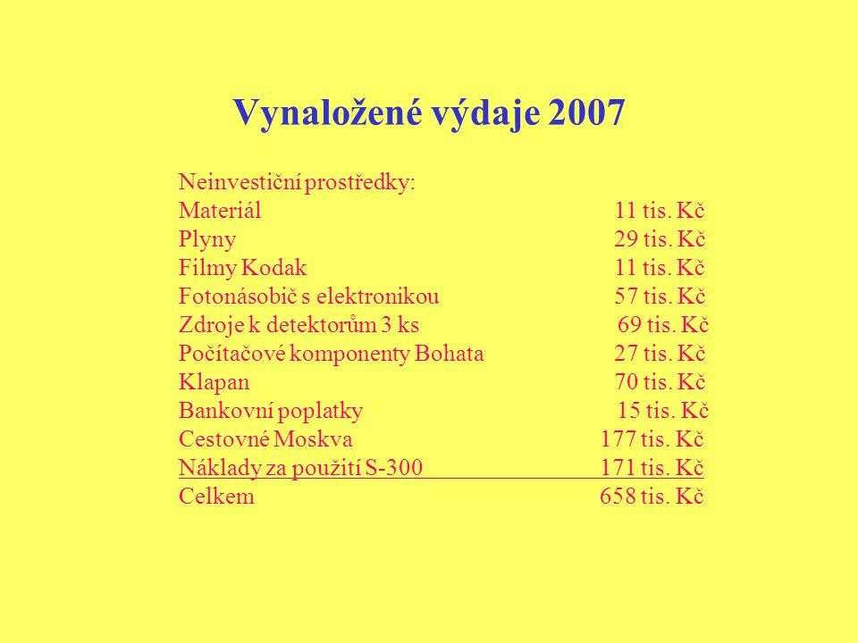 Vynaložené výdaje 2007 Neinvestiční prostředky: Materiál 11 tis.