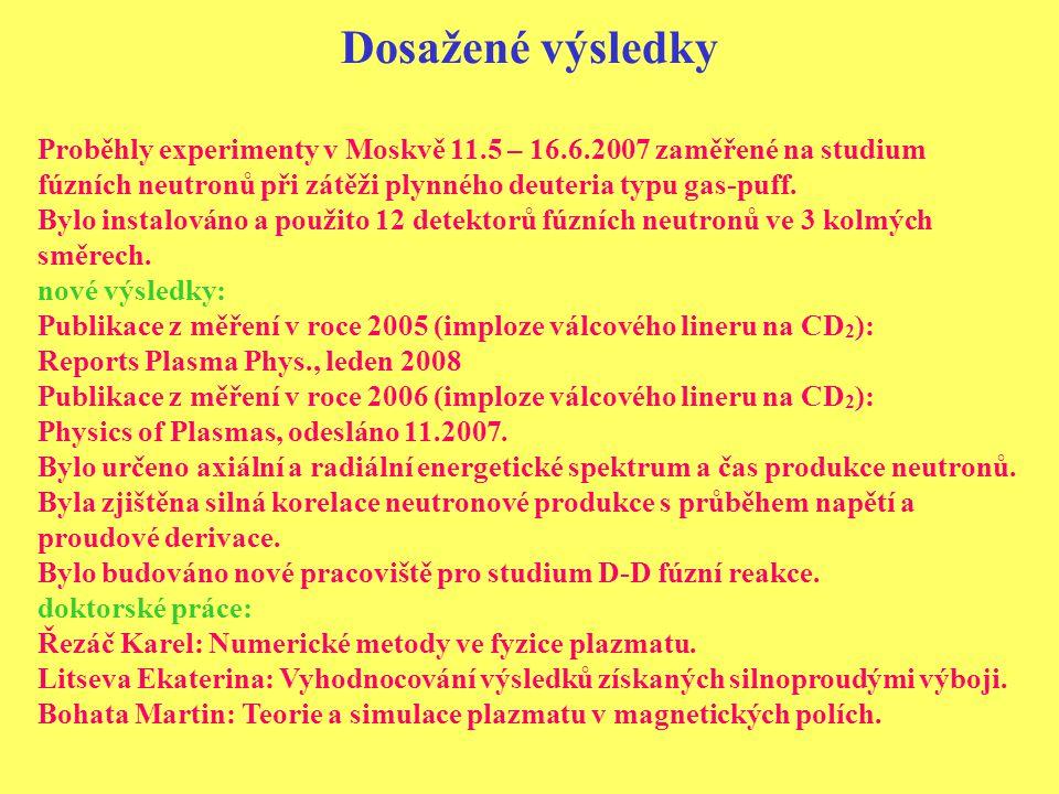Dosažené výsledky Proběhly experimenty v Moskvě 11.5 – 16.6.2007 zaměřené na studium fúzních neutronů při zátěži plynného deuteria typu gas-puff.